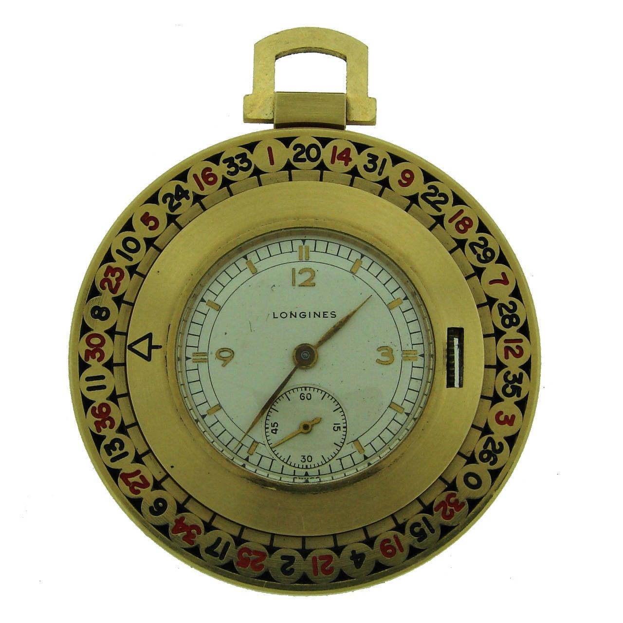 Longines Yellow Gold Enamel Roulette Pocket Watch Circa 1940s