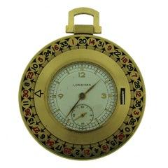 Vintage Longines 14k Yellow Gold Roulette Pocket Watch Retro