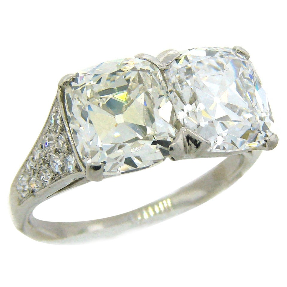 Two Platinum: Cartier Art Deco Diamond Platinum Two Stone Ring For Sale