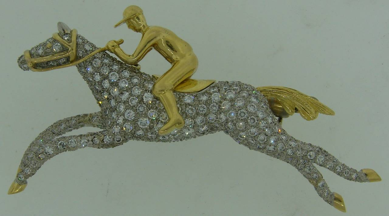 Tiffany & Co. Diamond Gold Platinum Jockey Horse Pin Brooch In Excellent Condition For Sale In Beverly Hills, CA