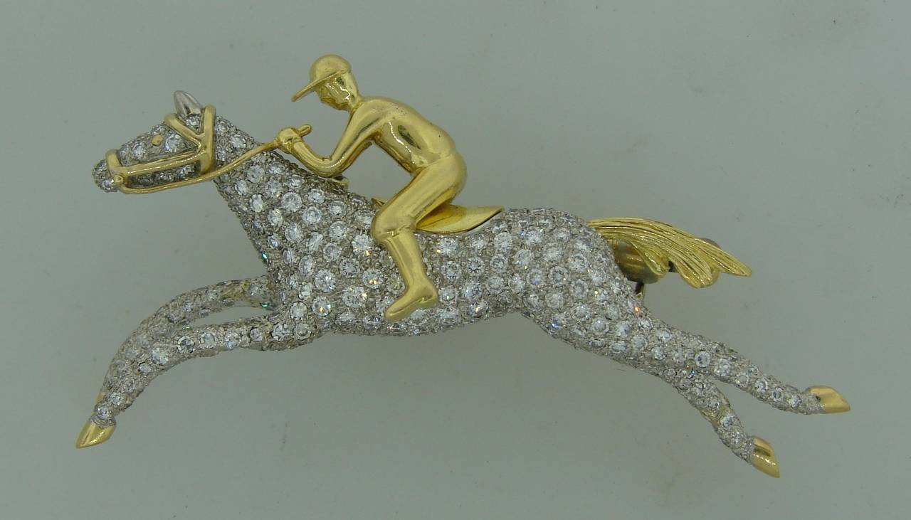 Gorgeous equestrian pin created by Tiffany & Co. It is definitely a conversational piece! It can be worn as a pin or scarf holder or just be standing on your desk or toilet table.