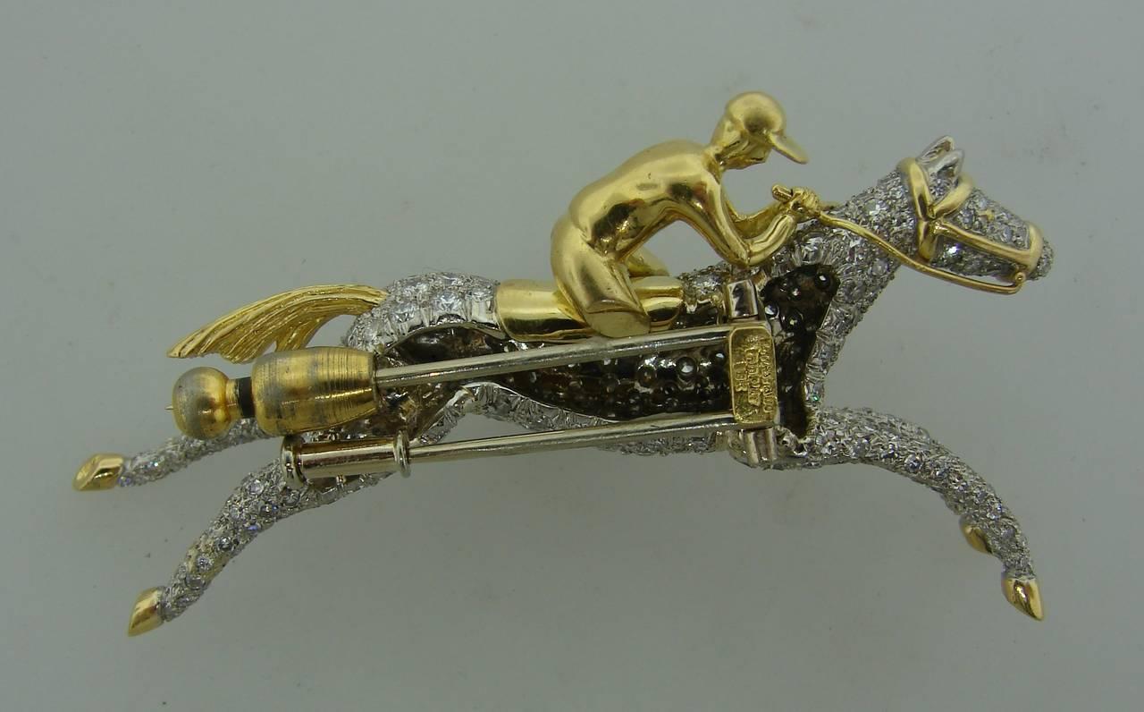Tiffany & Co. Diamond Gold Platinum Jockey Horse Pin Brooch For Sale 3