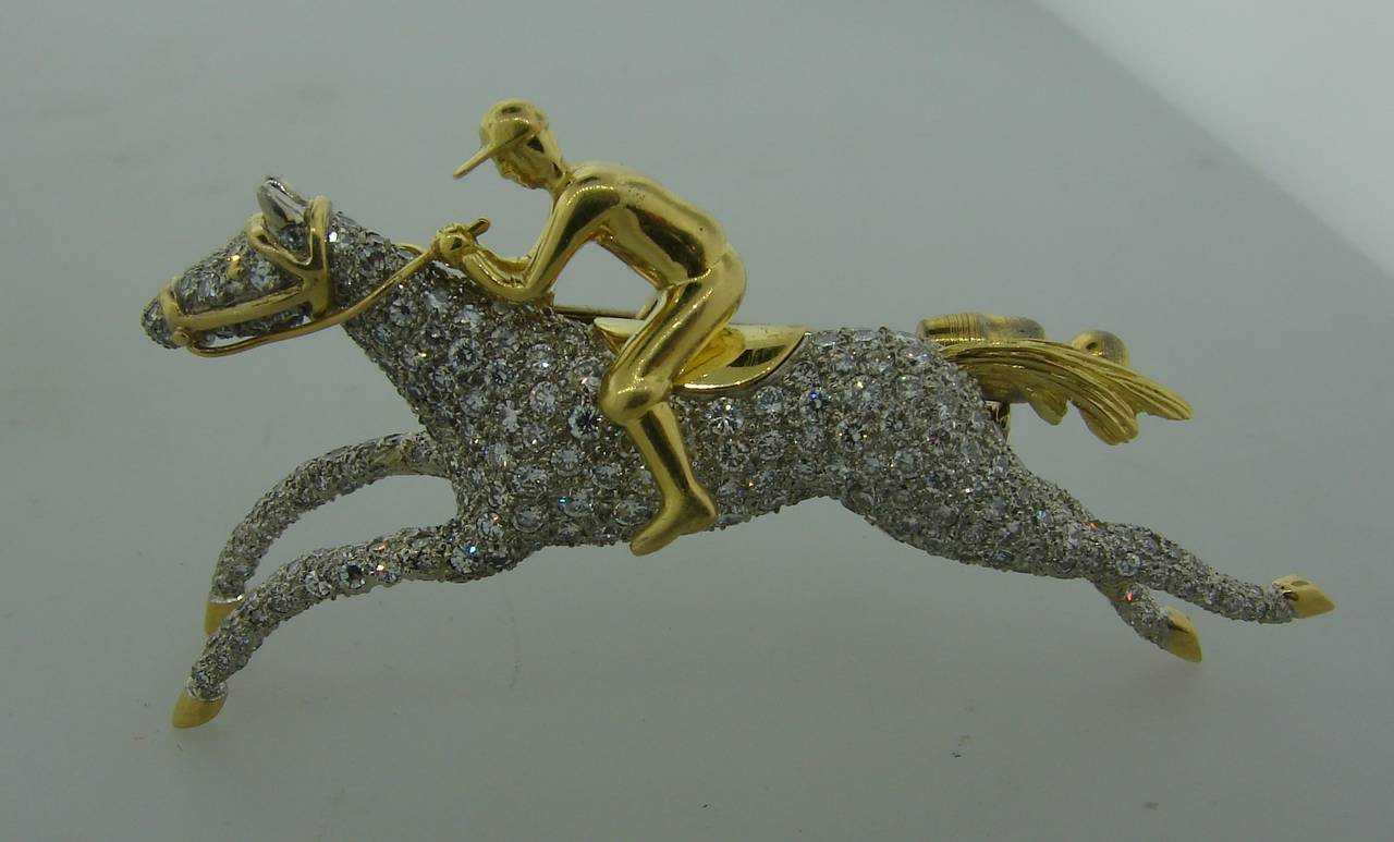 Women's or Men's Tiffany & Co. Diamond Gold Platinum Jockey Horse Pin Brooch For Sale