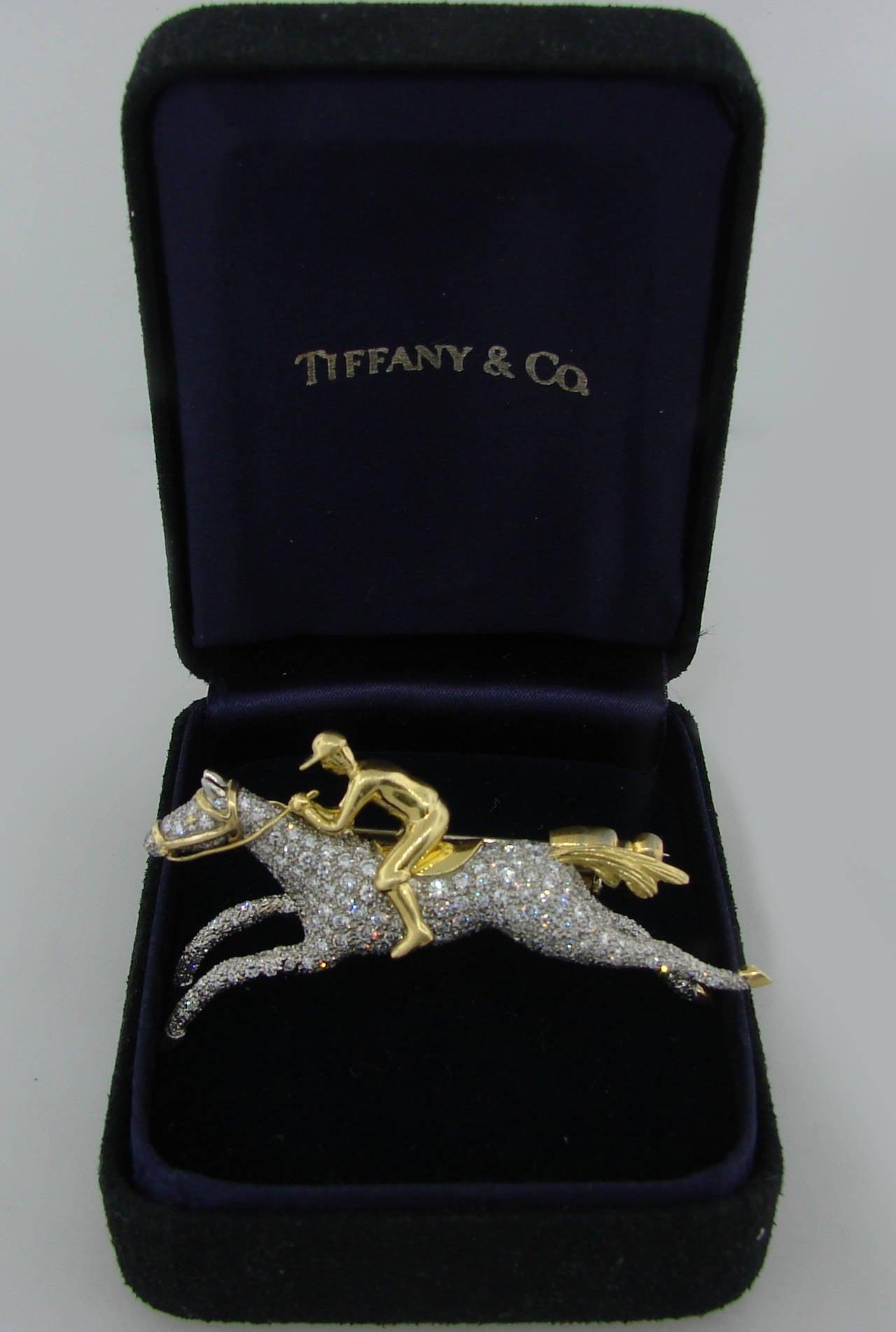 Tiffany & Co. Diamond Gold Platinum Jockey Horse Pin Brooch For Sale 1