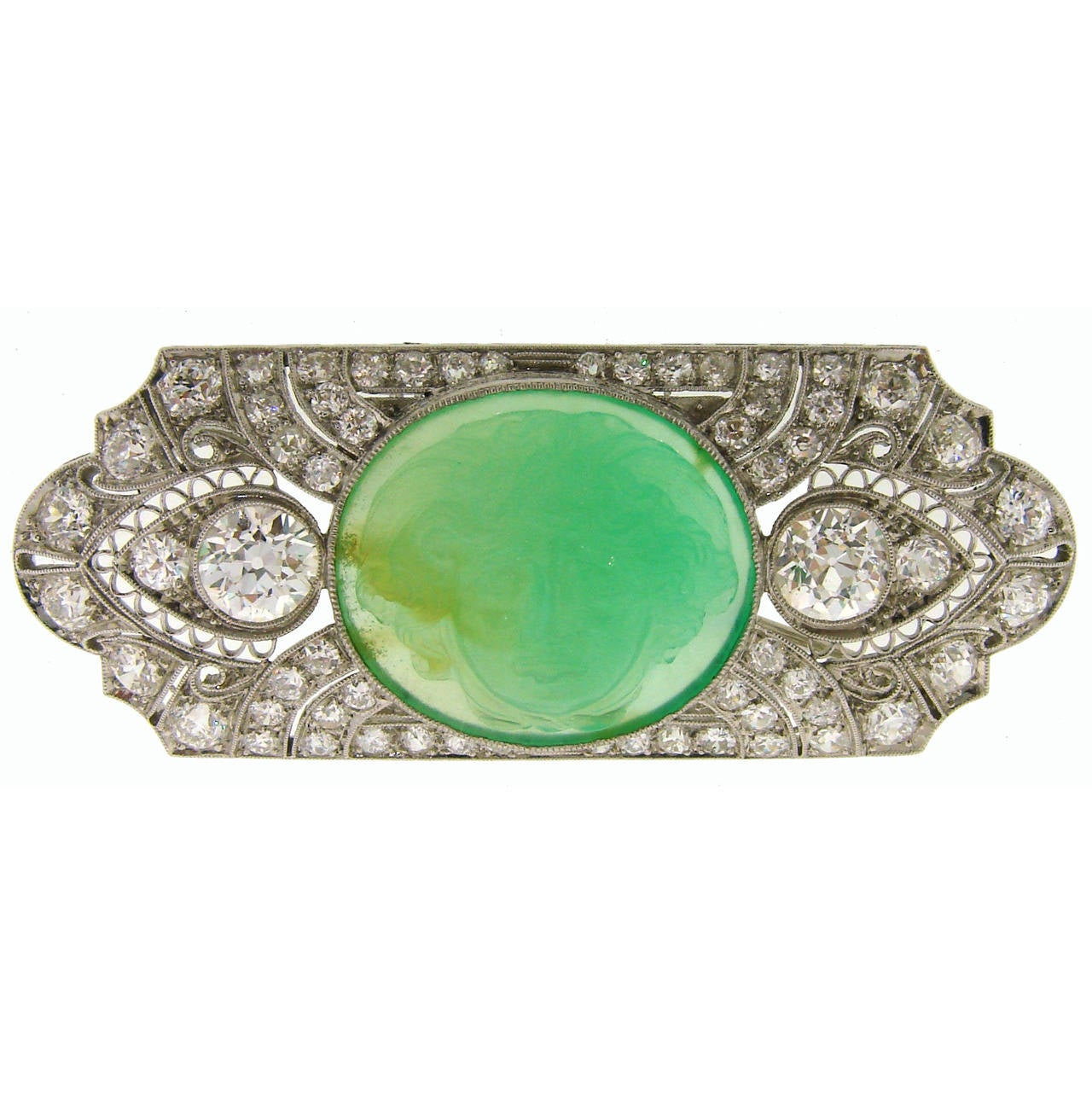 Art Deco Carved Jade Diamond Gold Platinum Pin Brooch