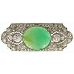 Art Deco Carved Jade Diamond Gold Platinum Pin Brooch