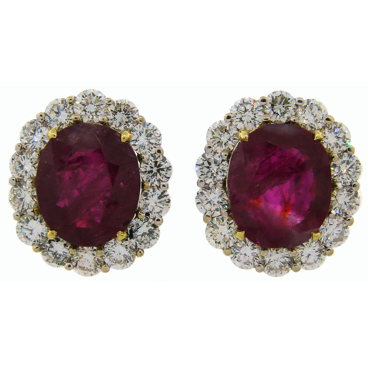 9.49 Carat No Heat Burmese Ruby Diamond Gold Earrings