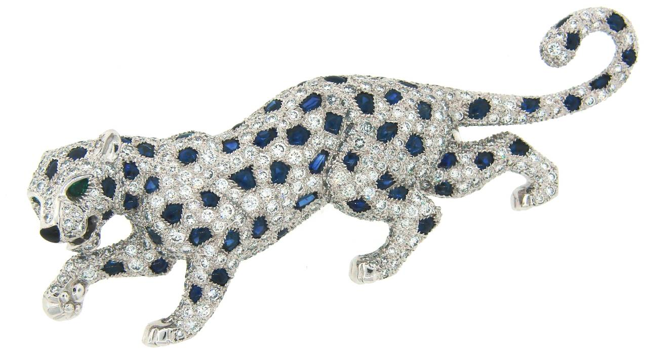 brooch p diamond and lot jewelry by a details emerald panther lotfinder csk cartier onyx