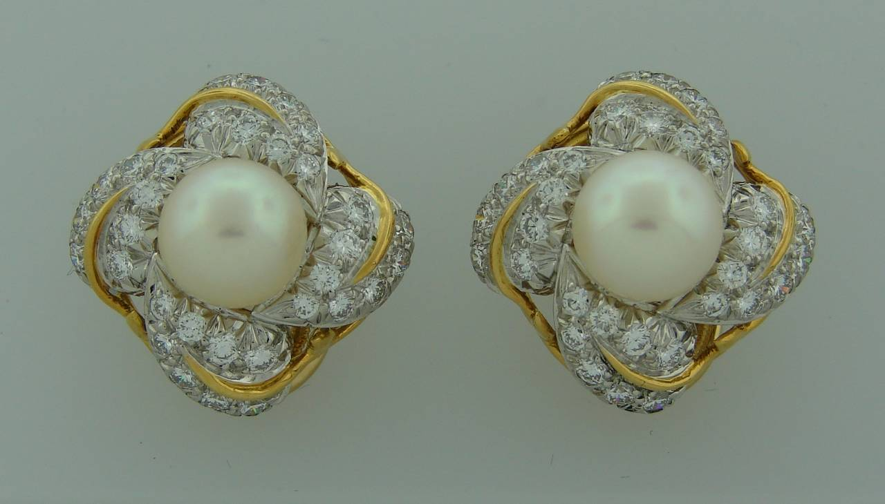 1970s Tiffany & Co. Schlumberger Pearl Diamond Gold Earrings 4