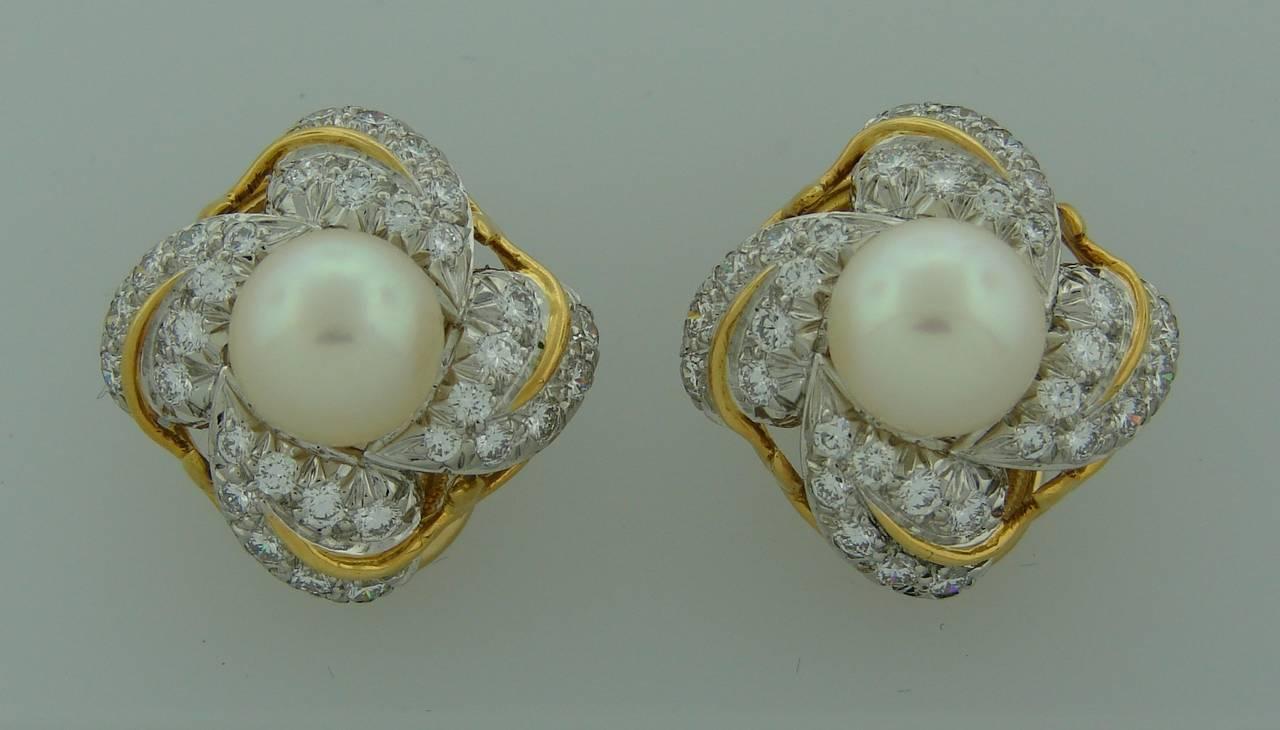 Women's 1970s Tiffany & Co. Schlumberger Pearl Diamond Gold Earrings For Sale