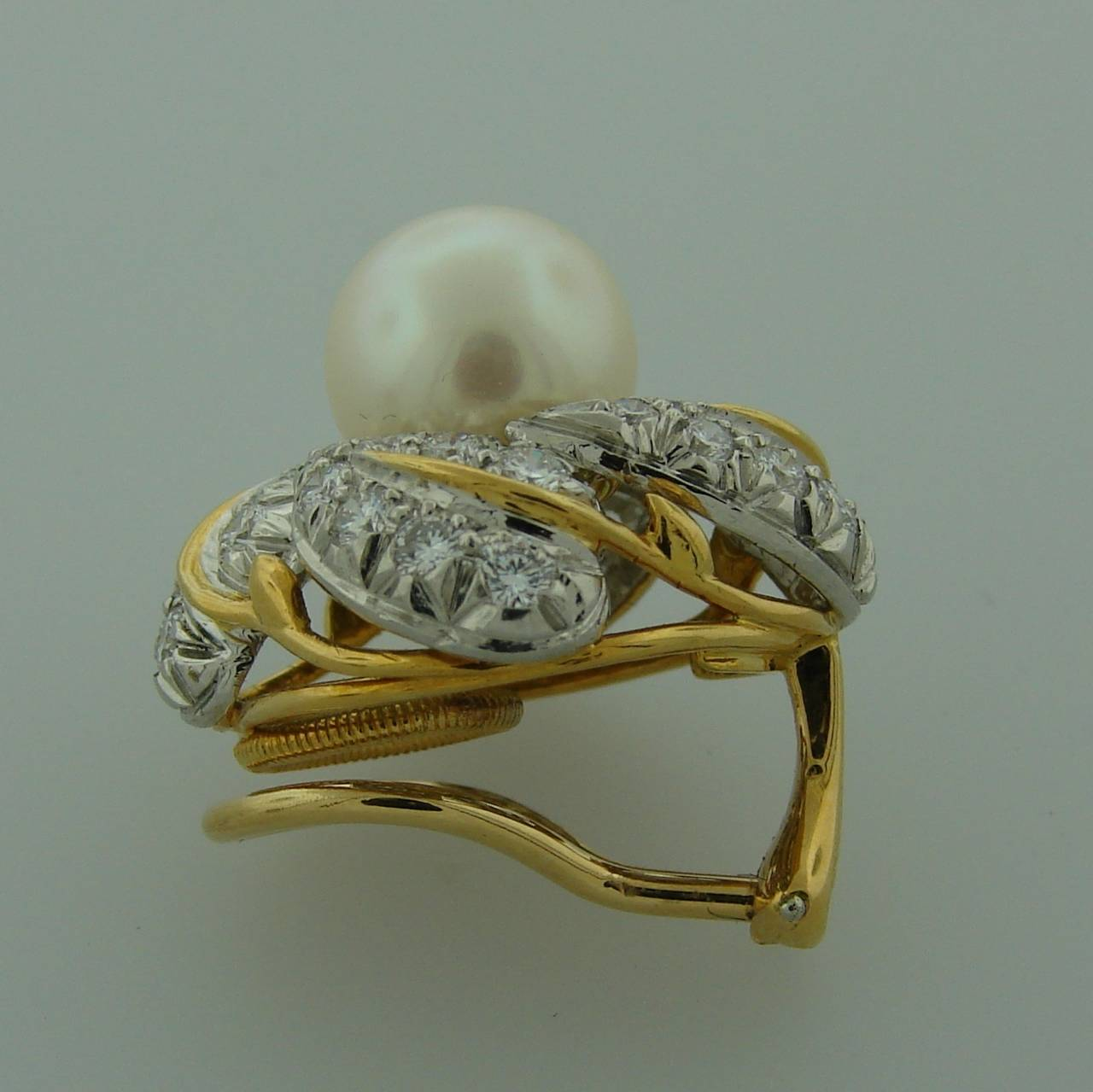 1970s Tiffany & Co. Schlumberger Pearl Diamond Gold Earrings For Sale 3