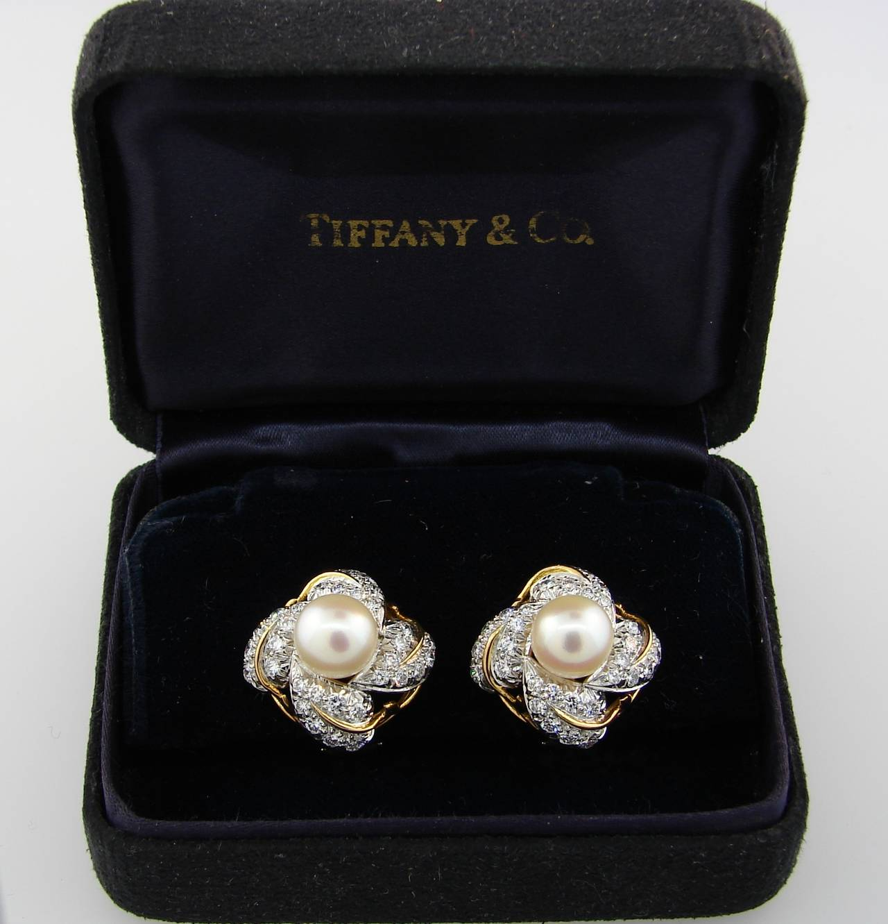 1970s Tiffany & Co. Schlumberger Pearl Diamond Gold Earrings For Sale 1