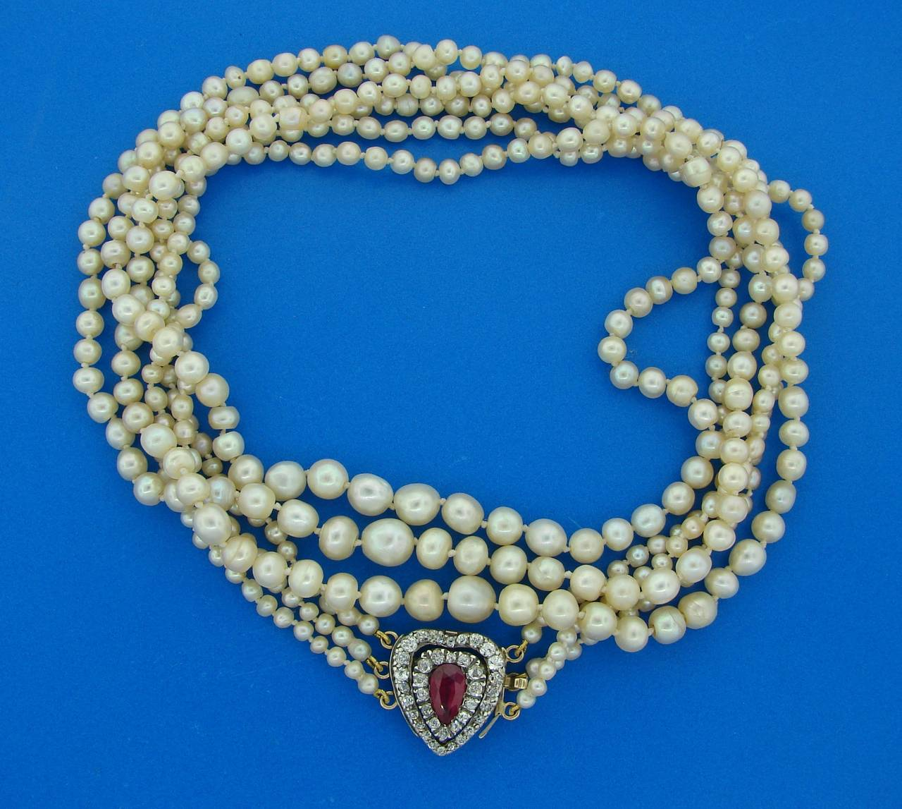Natural Saltwater Pearl Necklace: Victorian Natural Saltwater Pearl Unheated 1.80-ct Ruby