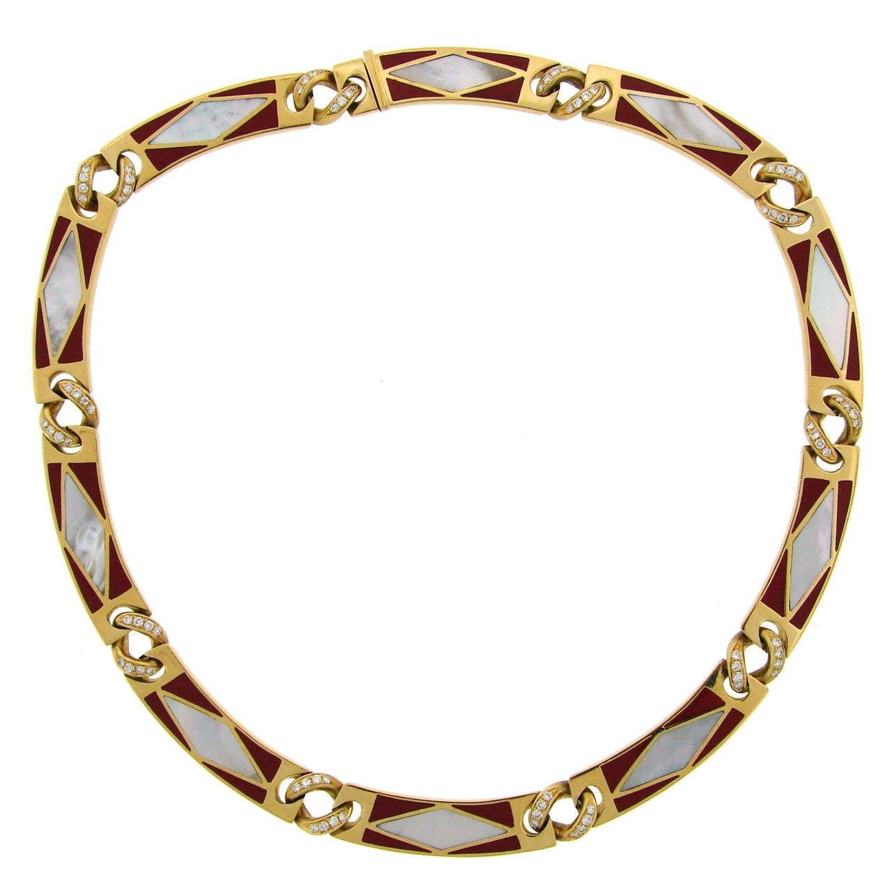 Instyle Decor Com Beverly Hills Beautiful Mother Of Pearl: Bulgari Mother-of-Pearl Enamel Diamond Gold Necklace At