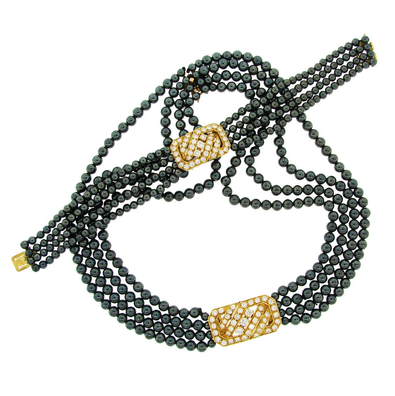 Van Cleef & Arpels Hematite Diamond Gold Necklace and Bracelet Set