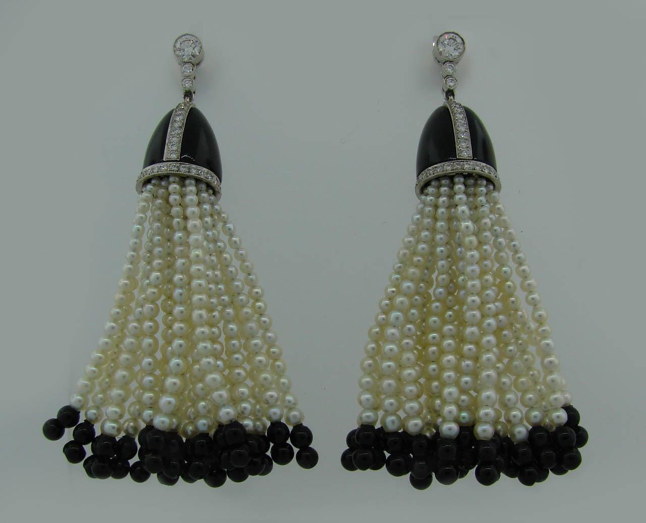 48df808b5 Seed Pearl Black Onyx Diamond Platinum Tassel Earrings For Sale. Chic and  feminine tassel earrings created by Tiffany & Co. in the 1960's.