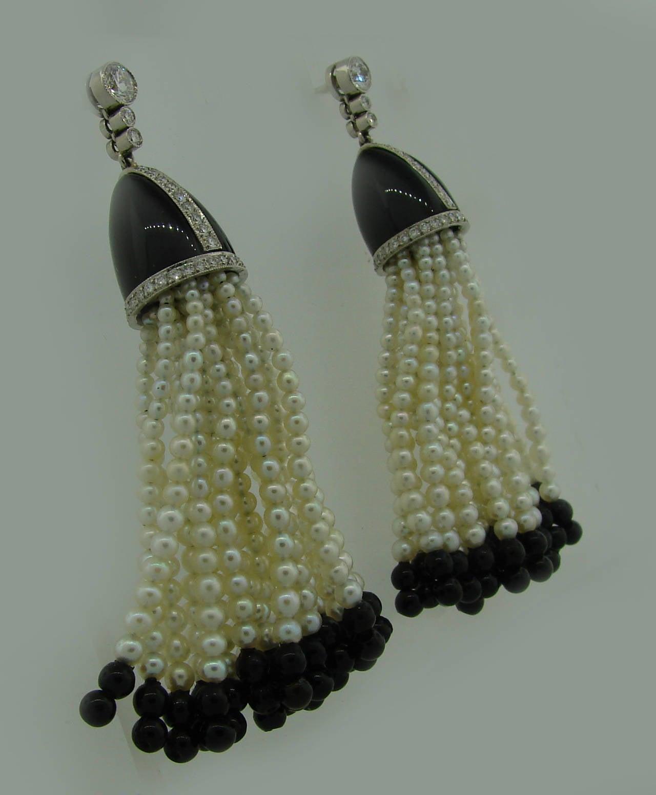 8585d76d3 Women's 1960s Tiffany & Co. Seed Pearl Black Onyx Diamond Platinum Tassel  Earrings For Sale