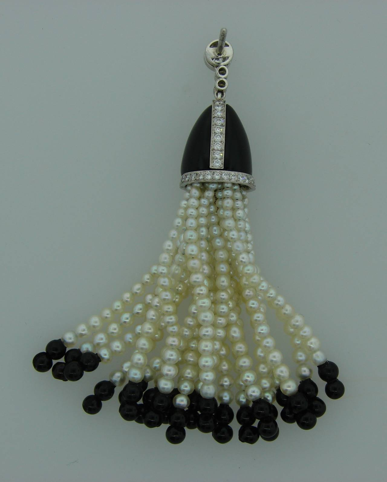 ccf376213 1960s Tiffany & Co. Seed Pearl Black Onyx Diamond Platinum Tassel Earrings  In Excellent Condition
