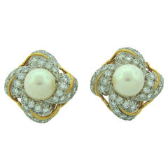 1970s Tiffany & Co. Schlumberger Pearl Diamond Gold Earrings