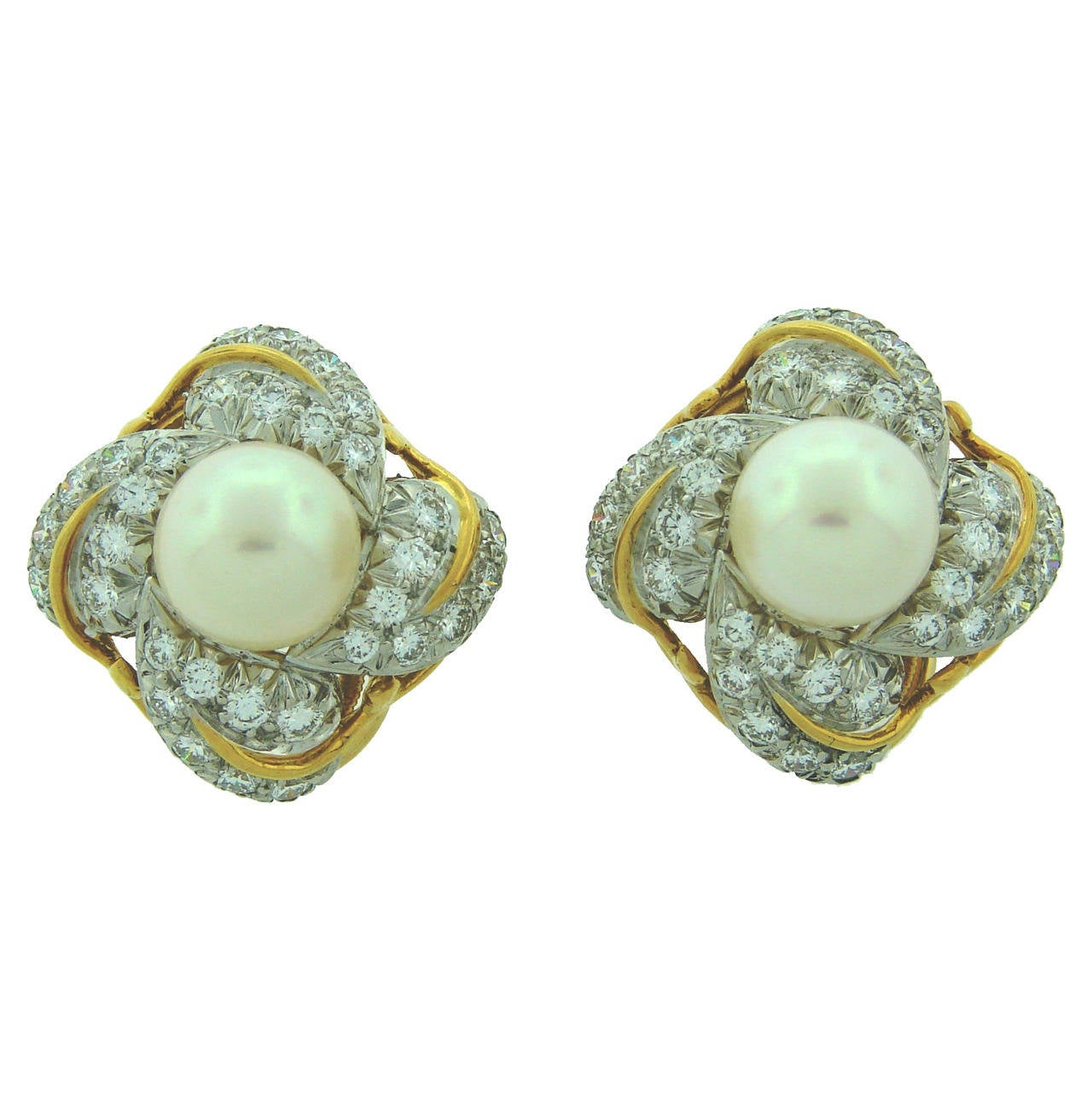 1970s Tiffany & Co. Schlumberger Pearl Diamond Gold Earrings 1