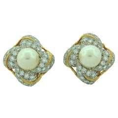 Tiffany & Co. Schlumberger Pearl Diamond Gold Earrings 1970s
