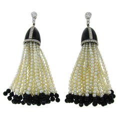 1960s Tiffany & Co. Seed Pearl Black Onyx Diamond Platinum Tassel Earrings