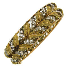 1950s Mario Buccellati Diamond and Three Tone Gold Bangle Bracelet