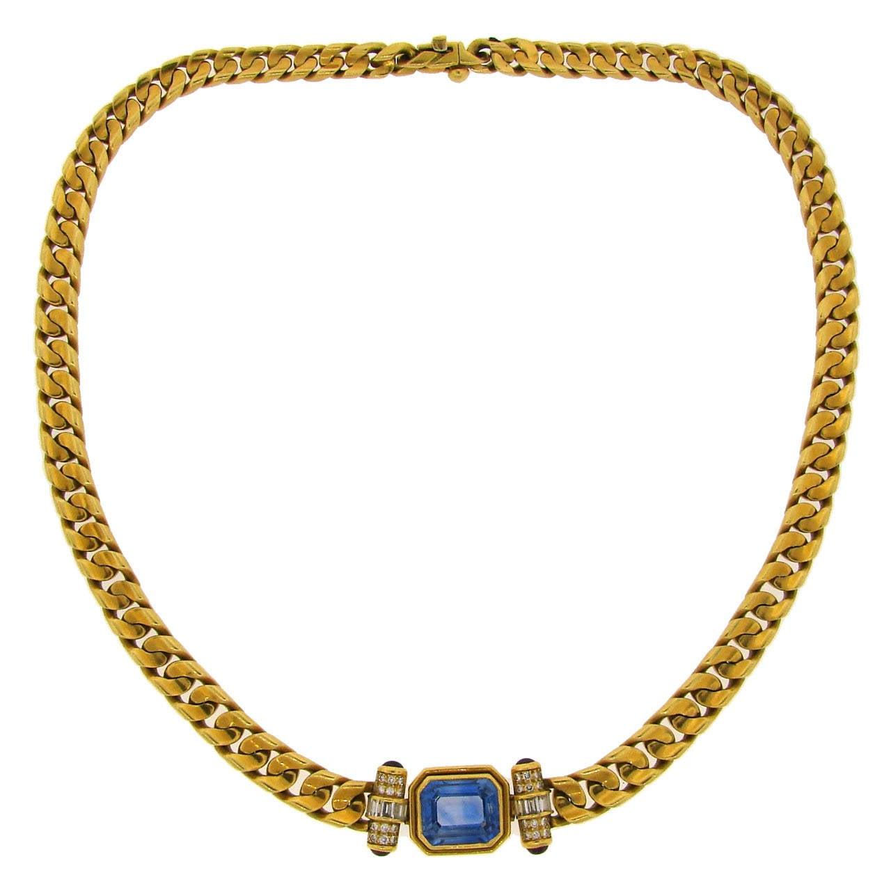 1970s Bulgari Sapphire Ruby Diamond Gold Necklace