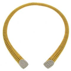 1970s Cartier Italy Diamond Gold Tubogas Choker Necklace