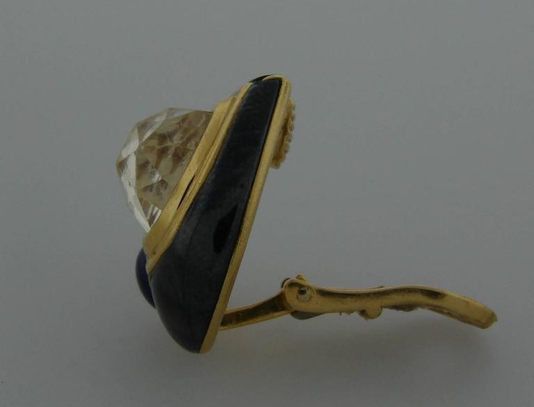 1980s Bulgari Sapphire Hematite Gold Earrings For Sale 2