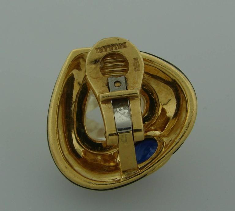 1980s Bulgari Sapphire Hematite Gold Earrings For Sale 3