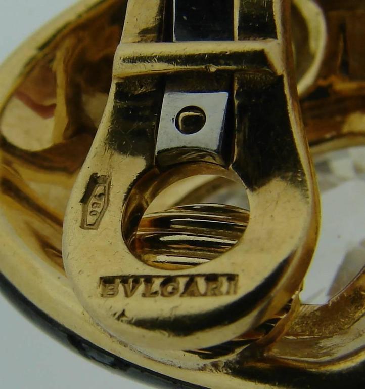 1980s Bulgari Sapphire Hematite Gold Earrings For Sale 4