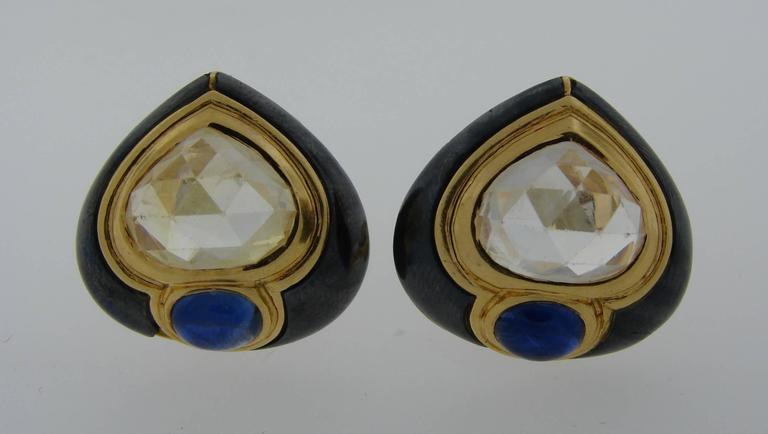 1980s Bulgari Sapphire Hematite Gold Earrings In Good Condition For Sale In Beverly Hills, CA