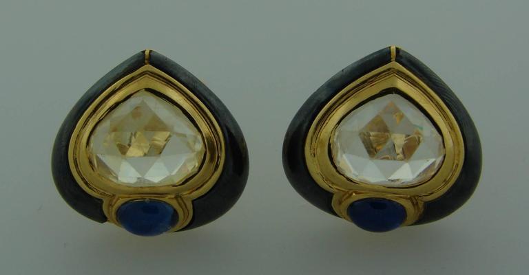 Women's 1980s Bulgari Sapphire Hematite Gold Earrings For Sale