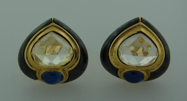 1980s Bulgari Sapphire Hematite Gold Earrings For Sale 1