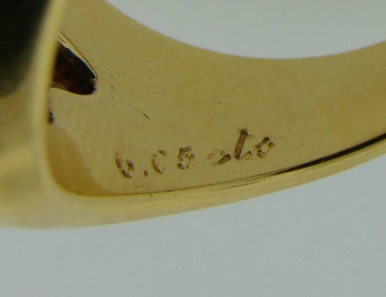 1970s Bulgari Cabochon Sapphire Diamond Gold Ring For Sale 4
