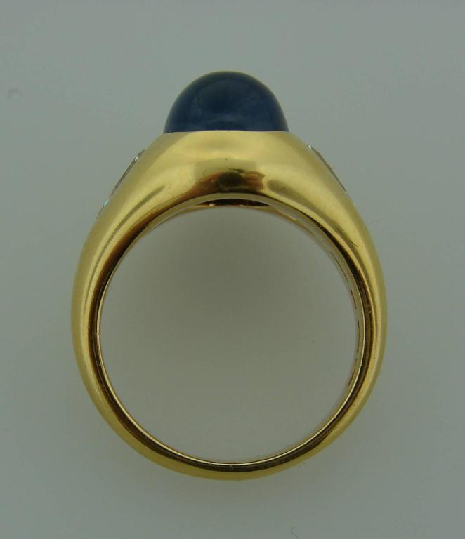1970s Bulgari Cabochon Sapphire Diamond Gold Ring For Sale 1