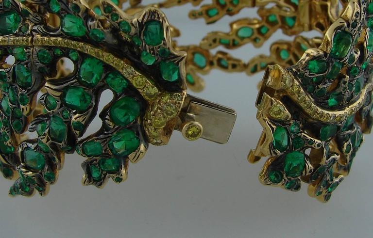 Michele della Valle Emerald Fancy Yellow Diamond Gold Bracelet For Sale 3