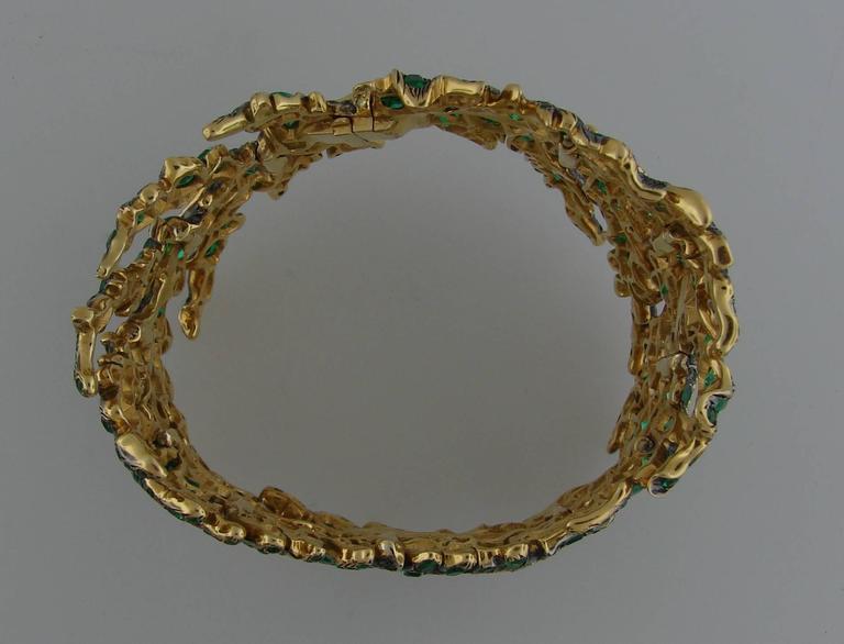 Michele della Valle Emerald Fancy Yellow Diamond Gold Bracelet For Sale 2
