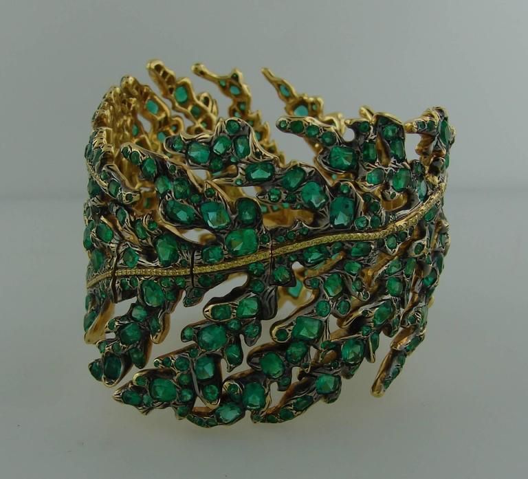 Michele della Valle Emerald Fancy Yellow Diamond Gold Bracelet For Sale 1