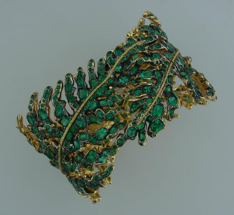 Women's Michele della Valle Emerald Fancy Yellow Diamond Gold Bracelet For Sale