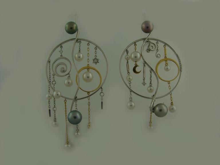 Mikimoto Pearl Diamond Gold Pendant Necklace Earrings Set