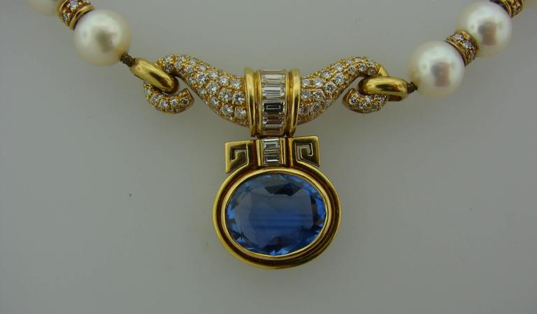 Women's 1980s Bulgari Pearl Sapphire Diamond Gold Necklace and Earrings Set For Sale