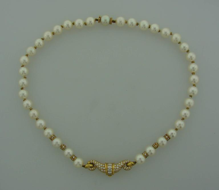 1980s Bulgari Pearl Sapphire Diamond Gold Necklace and Earrings Set In Excellent Condition For Sale In Beverly Hills, CA
