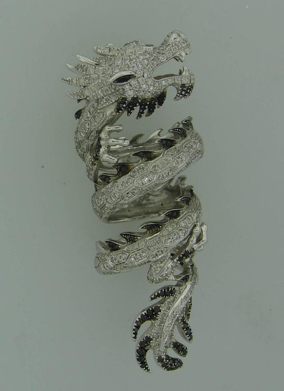Elise Dray Diamond Gold Mechanical Dragon Ring  3