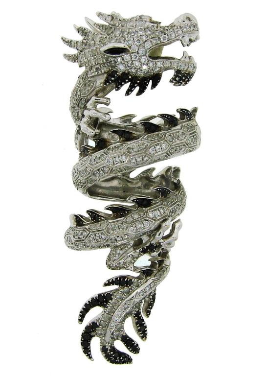 Elise Dray Diamond Gold Mechanical Dragon Ring  2