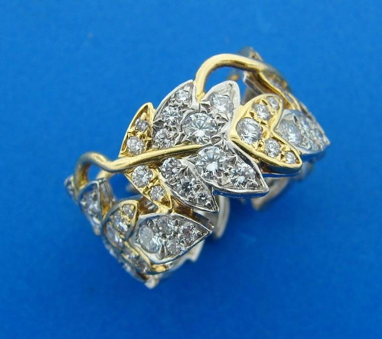 Tiffany & Co. Schlumberger Diamond Gold Platinum Band Ring In Excellent Condition For Sale In Beverly Hills, CA