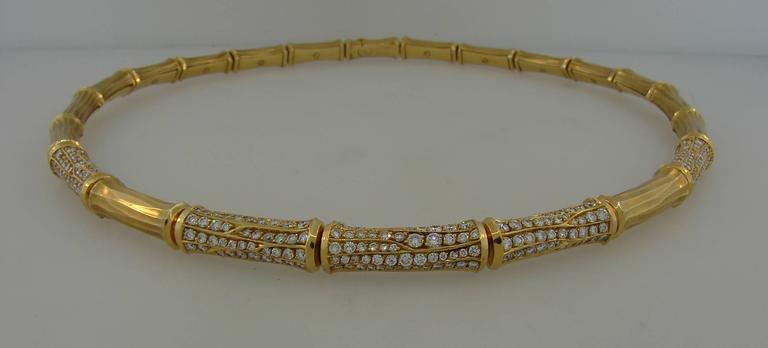 Women's Cartier Diamond Gold Bamboo Necklace For Sale