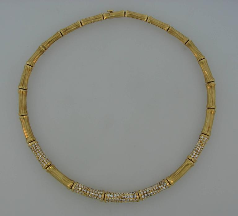 Cartier Diamond Gold Bamboo Necklace In Excellent Condition For Sale In Beverly Hills, CA