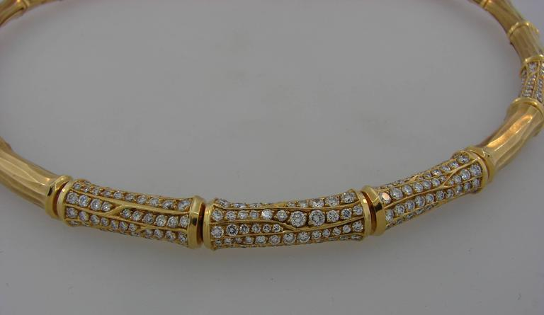 Cartier Diamond Gold Bamboo Necklace For Sale 1